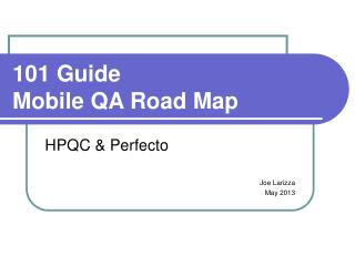 101 Guide  Mobile QA Road Map