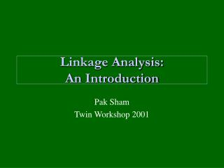 Linkage Analysis: An Introduction
