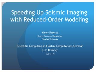 Speeding Up Seismic Imaging with Reduced-Order Modeling
