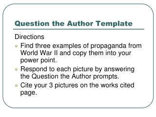 Question the Author Template