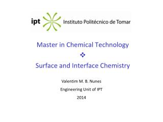Master in Chemical Technology   Surface and Interface Chemistry