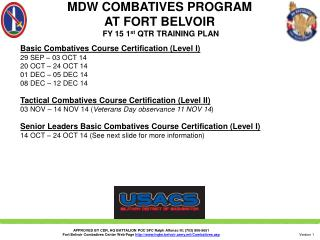 MDW COMBATIVES PROGRAM  AT FORT BELVOIR  FY  15 1 st  QTR  TRAINING PLAN