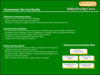 VP/Director of Homeowner Service  Direct 3 or more Homeowner Service Managers