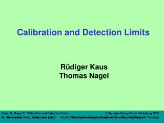 Calibration and Detection Limits