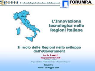 Lucia Pasetti Rappresentante CISIS REGIONE LIGURIA