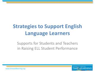 Strategies to Support English Language Learners