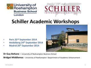 Schiller Academic Workshops