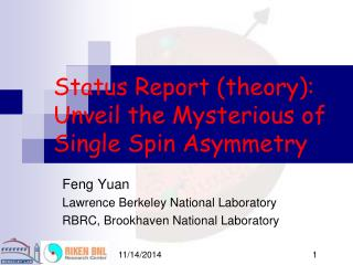 Status Report (theory):  Unveil the Mysterious of Single Spin Asymmetry