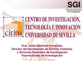 Prof. Julián Martínez Fernández Director del Secretariado de Centros Institutos