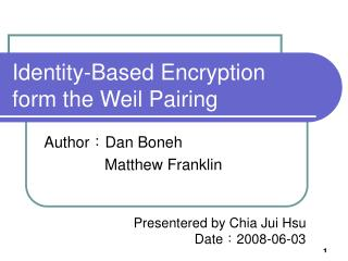 Identity-Based Encryption form the Weil Pairing