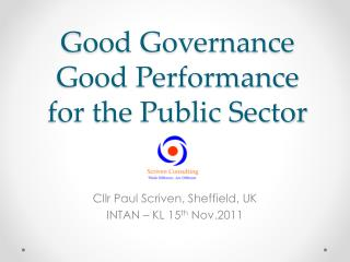 Good Governance Good Performance for the Public Sector
