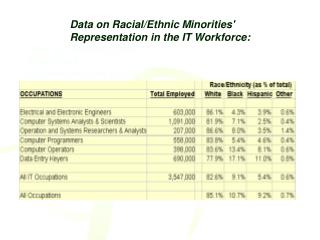 Data on Racial/Ethnic Minorities' Representation in the IT Workforce: