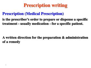 Prescription (Medical Prescription)