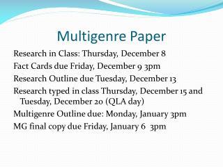 Multigenre Paper