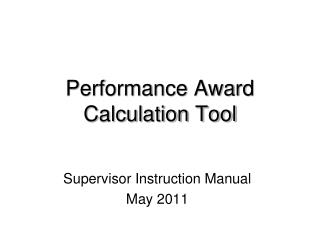 Performance Award Calculation Tool