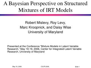 A Bayesian Perspective on Structured Mixtures of IRT Models