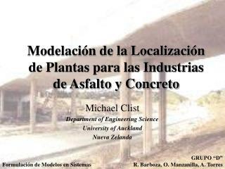 Modelación de la Localización de Plantas para las Industrias de Asfalto y Concreto