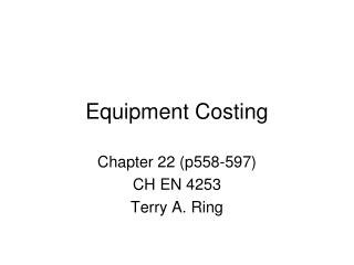 Equipment Costing