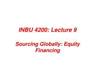 INBU 4200: Lecture 9