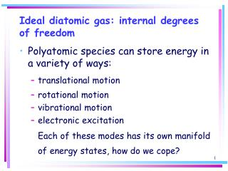 Ideal diatomic gas: internal degrees of freedom