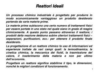 Reattori Ideali