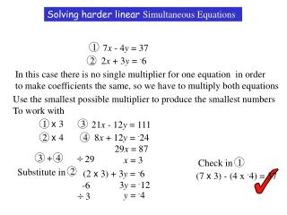 Solving harder linear Simultaneous Equations