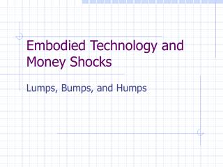 Embodied Technology and Money Shocks