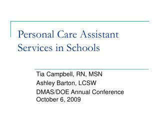 Personal Care Assistant Services Presentation