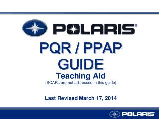PQR / PPAP GUIDE