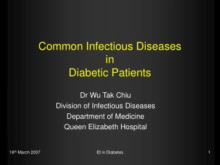 Common Infectious Diseases  in  Diabetic Patients