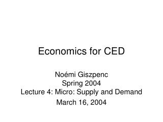 Economics for CED