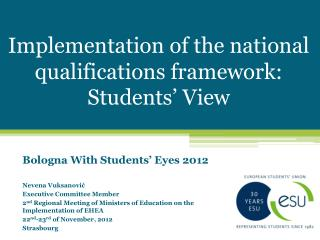 Implementation of the national qualifications framework: Students' View