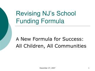 Revising NJ's School Funding Formula