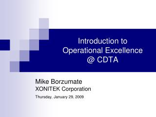Introduction to  Operational Excellence @ CDTA