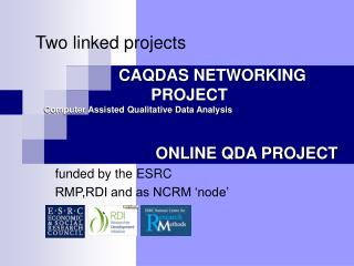 CAQDAS NETWORKING PROJECT ONLINE QDA PROJECT