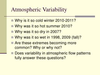 Atmospheric Variability