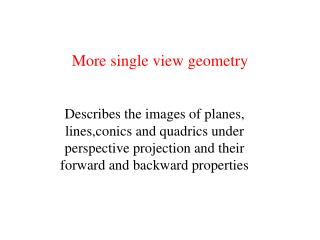 More single view geometry