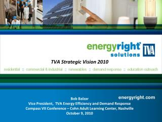 TVA Strategic Vision 2010 Bob Balzar Vice President,  TVA Energy Efficiency and Demand Response