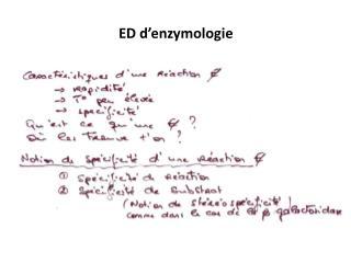 ED d'enzymologie