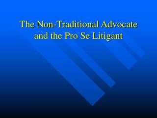 The Non-Traditional Advocate and the Pro Se Litigant