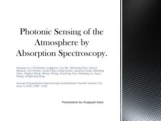 Photonic Sensing of the Atmosphere by Absorption Spectroscopy.