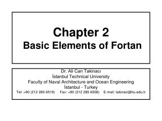 Chapter 2  Basic Elements of Fortan