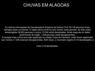 CHUVAS EM ALAGOAS