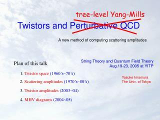 Twistors and Perturbative QCD