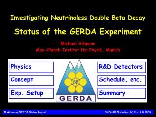 M.Altmann, GERDA Status Report            SNOLAB Workshop IV, 15.-17.8.2005