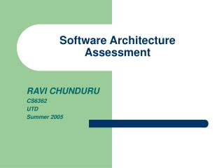 Software Architecture Assessment