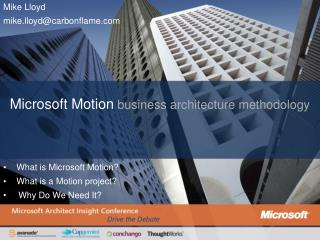 Microsoft Motion business architecture methodology