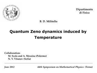 Quantum Zeno dynamics induced by Temperature