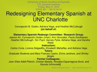 University of North Carolina at Charlotte CTL Summer Institute Friday, May 21, 2010