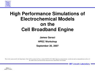 High Performance Simulations of Electrochemical Models   on the  Cell Broadband Engine